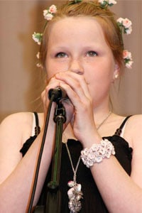 Student Singing with mic
